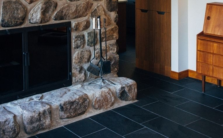 Tile Flooring Living Room Fireplace